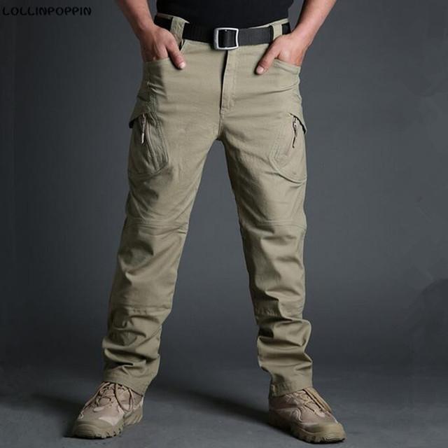 Hombres Pantalones Tácticos Pantalones Cargo Ocasional de los Nuevos 2017 Bolsillos Con Cremallera 97% Algodón y 3% Spandex Para Hombre Estilo Militar Del Ejército