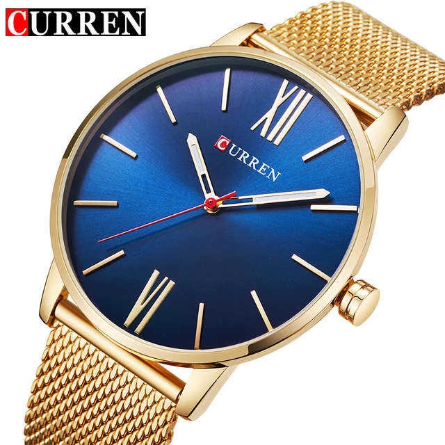 CURREN Luxury Brand Quartz Watch Men's Gold Casual Business Stainless Steel Mesh band Quartz-Watch Fashion Thin Clock male 8238 curren brand luxury stainless steel watch men business casual