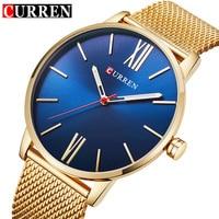 CURREN Luxus Marke Quarzuhr männer Gold Casual Business Edelstahlgewebe band Quarz-Uhr Mode Dünne Uhr männlichen 8238