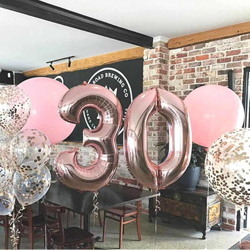 32 pulgadas Rosa oro plata fiesta DIY decoración aluminio número globos cumpleaños boda compromiso fiesta decoración niños bola