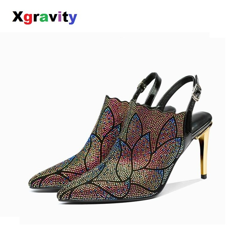 Xgravity Crystal Rhinestone Genuine Leather Point Toe Dress Shoes Elegant Fashion High Heel Pumps All Matched Lady Sandals C011Xgravity Crystal Rhinestone Genuine Leather Point Toe Dress Shoes Elegant Fashion High Heel Pumps All Matched Lady Sandals C011