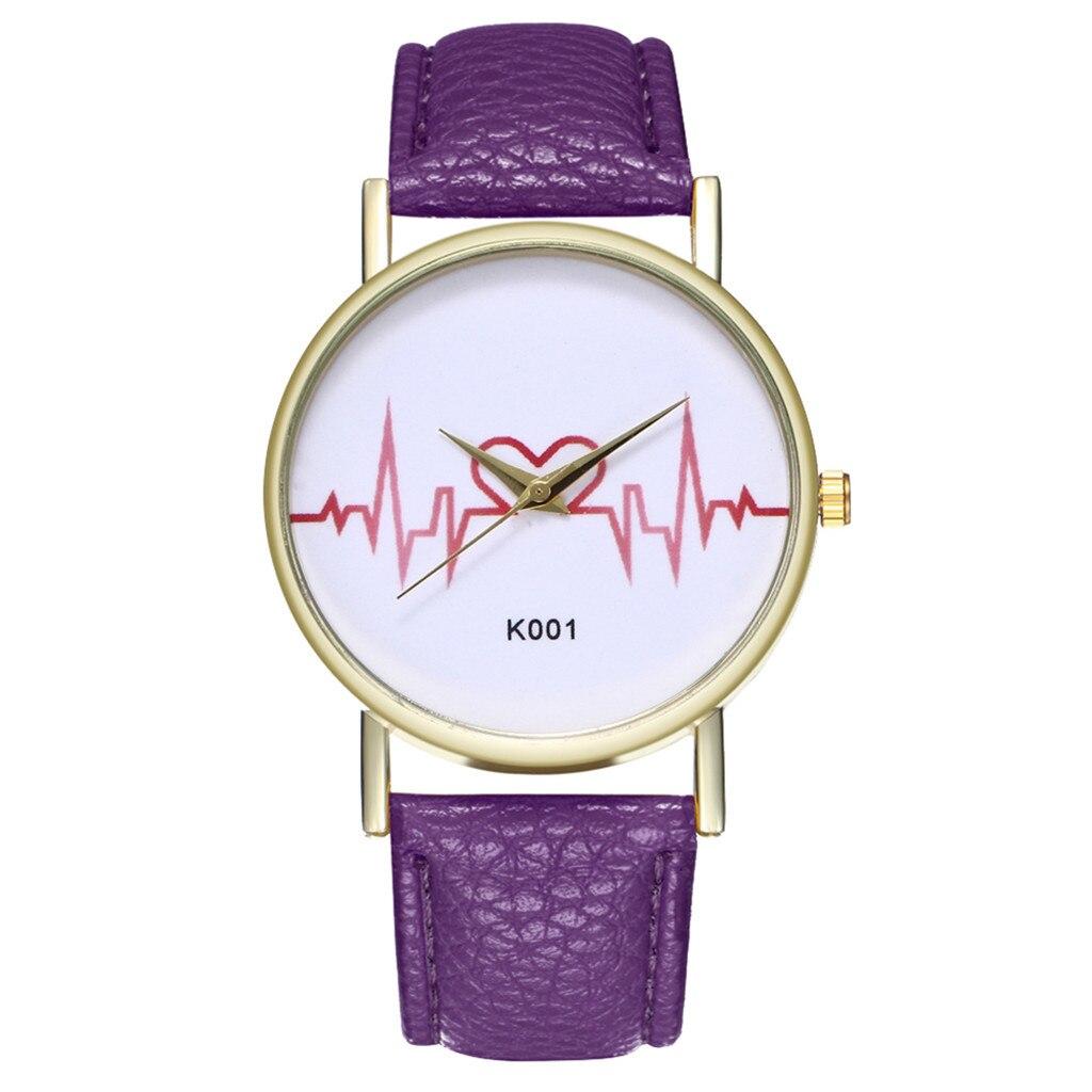 Women's Watches Fashion Heart Quartz Women's Watches Red Leather Luxury Brand Wristwatch Bracelet Sport Watch Reloj Mujer Clock