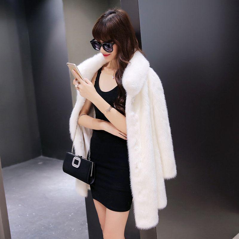 Femmes De Faux Nouvelle Vison Survêtement Fashion Fourrure Moyen Veste Manteau White Style Taille Femme Lâche black long 2018 Occasionnel Hiver Nzyd1088 Grande wqYIE5