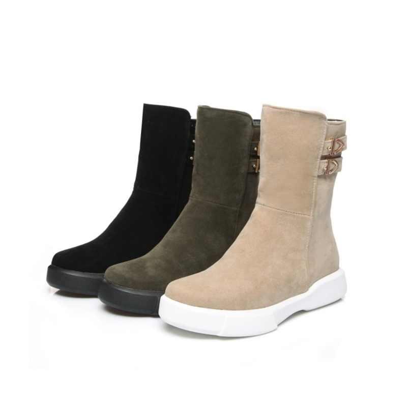 EGONERY kadınlar orta buzağı çizmeler yuvarlak ayak mat PU deri bayan kış alçak topuk kaliteli ayakkabılar kadın dışında yürüyüş toka çizmeler