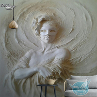 Beibehang 3D Stereo Relief Mask Beautiful Background Wall Customized Large Mural Nonwovens Super Green Wallpaper