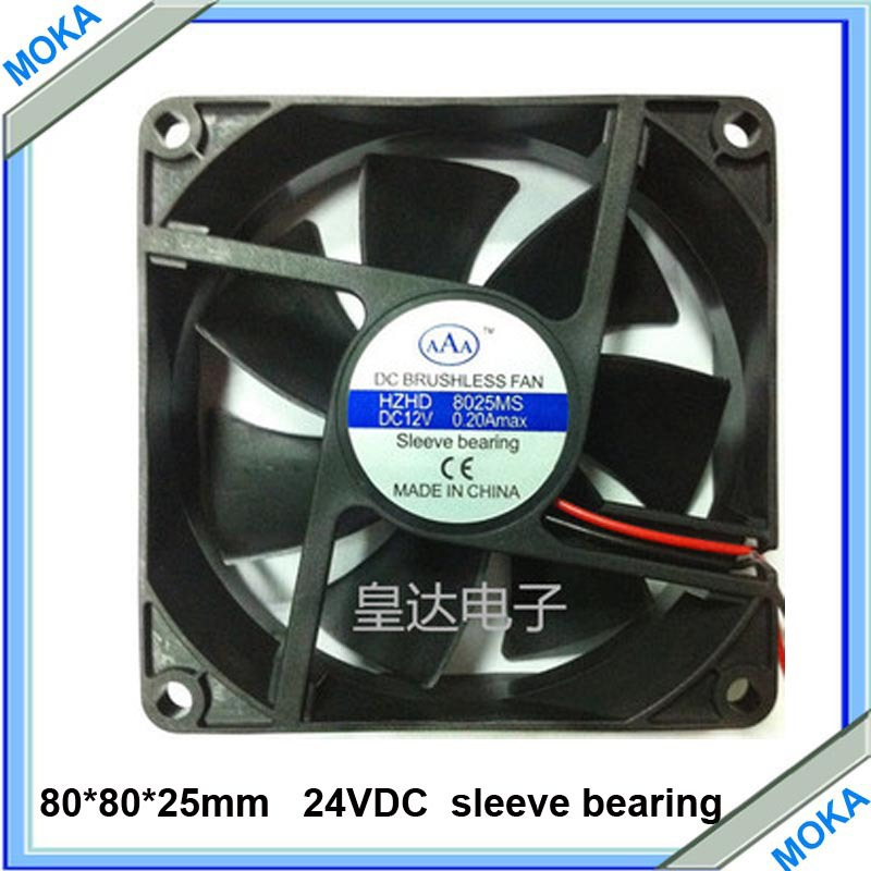 Free Shipping Good Quality  5 pieces/lot 80X80X25mm Cooling Brushless Fan 24VDC Blad8025es Plastic