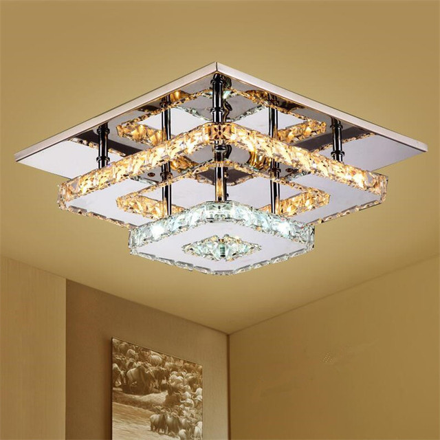 Amber Crystal Ceiling Lights Led Plafon Stainless Steel Mirror Lamps Lighting Fixture For Dining Room Luminarias Re