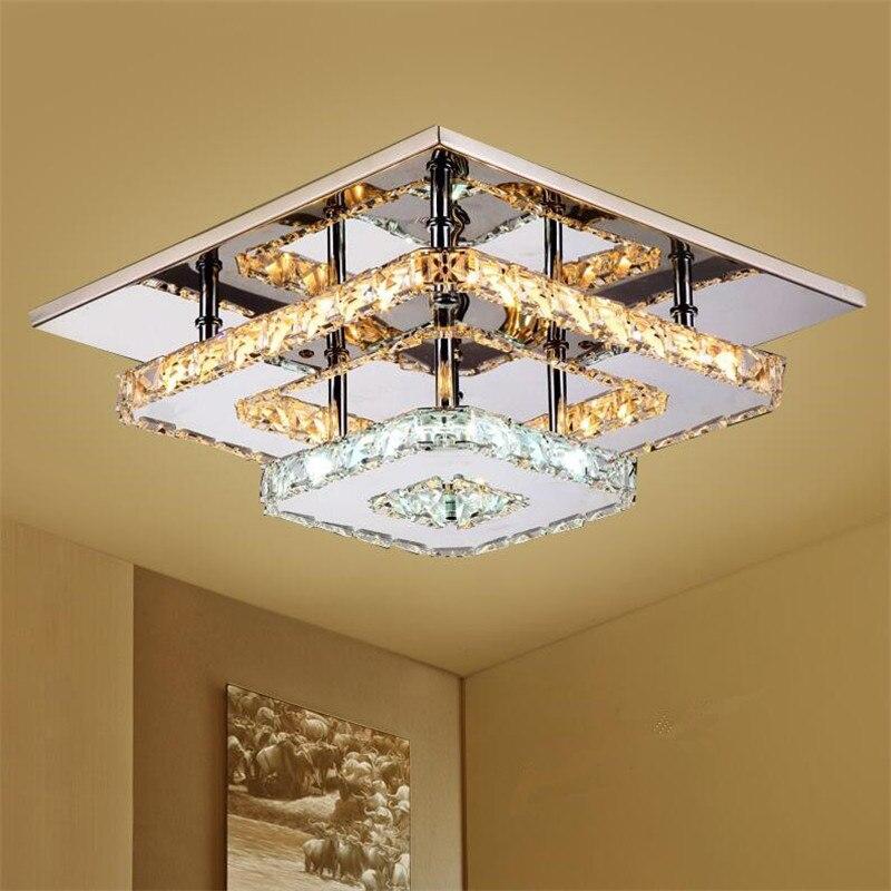 Ambre Cristal Plafonniers LED Plafon en acier Inoxydable Miroir Plafond Lampes Luminaire pour Salle À Manger Luminarias Lustre