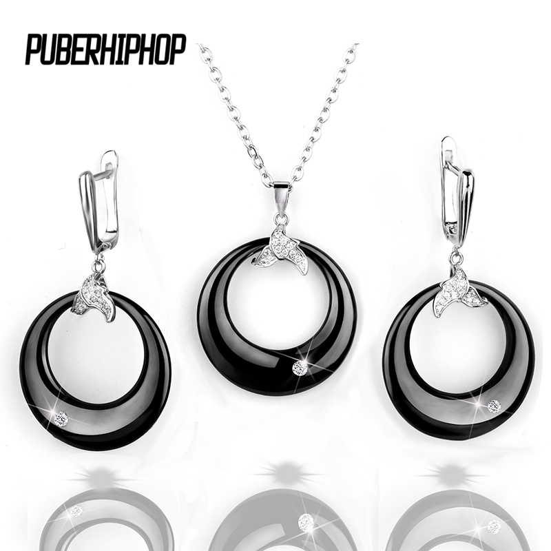 Black White Earrings & Pendant Jewelry Set With Stone For Women bijoux mariage Stainless Steel White Ceramic Earring Wedding Set шапка neff fold beanie teal