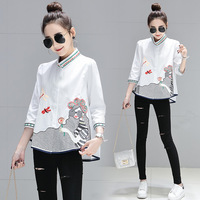 New Spring Summer Fashion Blouse Tops Women Causal Ladies Animal Luxury Embroidery Stand Collar White Blouse XXL Blousa NS107