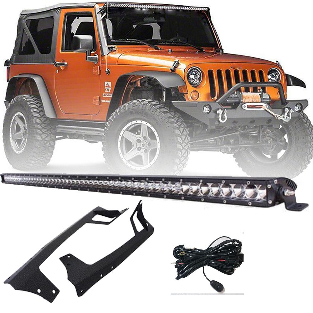 medium resolution of 52 inch led light bar steel metal mounting bracket with wiring harness for 2007 2018 jeep wrangler jk sport sahara rubicon in light bar work light from