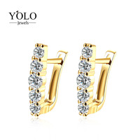 Romantic Hoop Earrings for Women with Shiny AAA Cubic Zirconia Earring Gold Color Earring Suitable for Parties Love Gift
