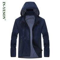Brand IN YESON Men's Waterproof Windproof Sunscreen Skin Jacket Men Breathable Quick dry Jacket Ultra Light Jacket Hooded Coat