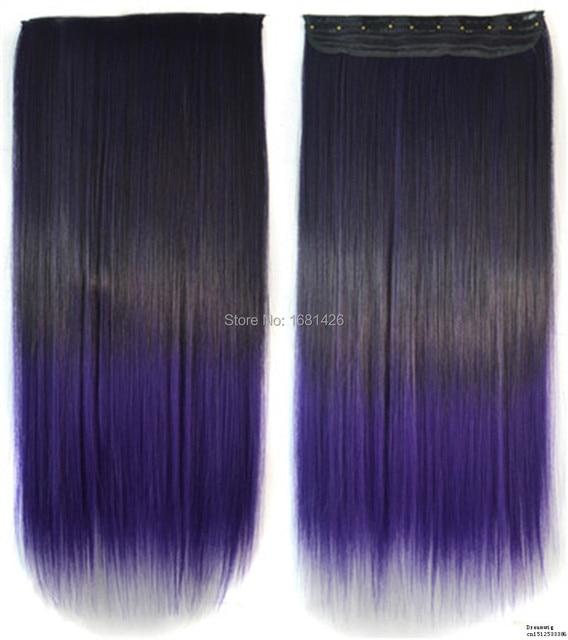 Dreamwig 24 Inch Black To Dark Purple Color Ombre Straight Full Head