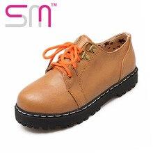 2016 Solid Color Lace-Up Rivets Women Flats Size 34-39 Sole Flat Heels Round Toe Platform Shoes Woman School Style Women Shoes