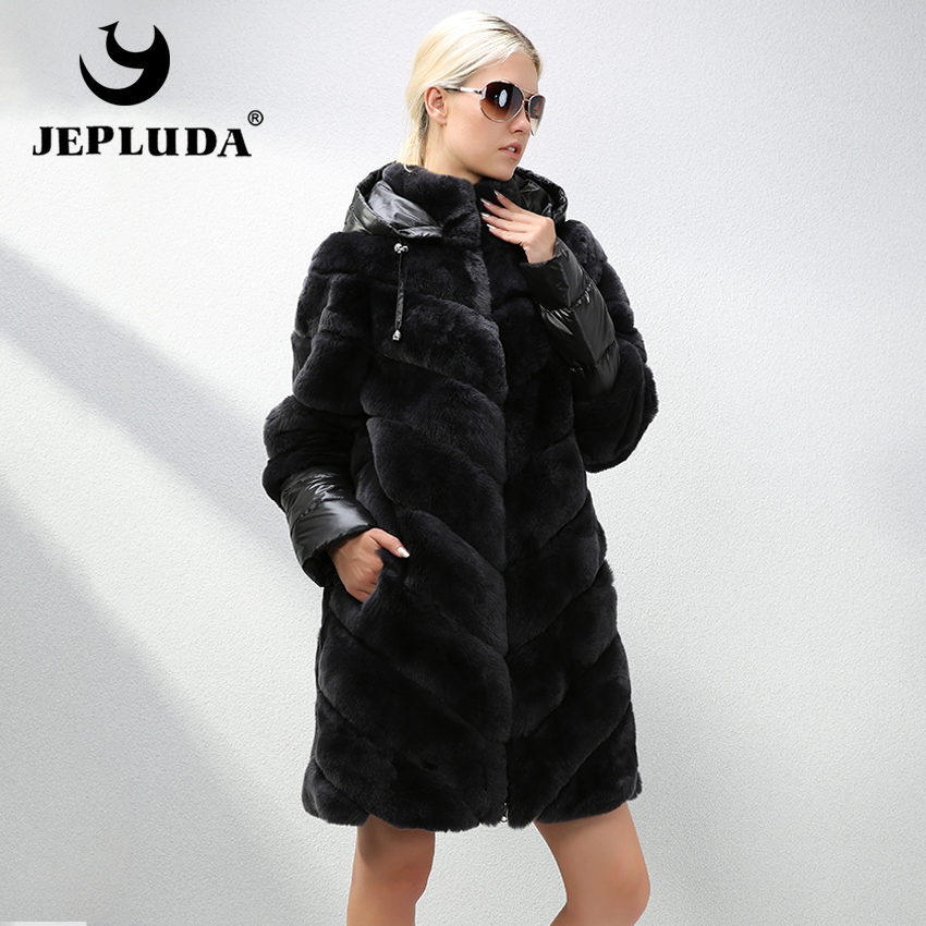 JEPLUDA Hot Sale New Fashion Long Real Fur Coat Detachable Polyester Sleeves Full Pelt Natural Real Rex Rabbit Coat Women Jacket