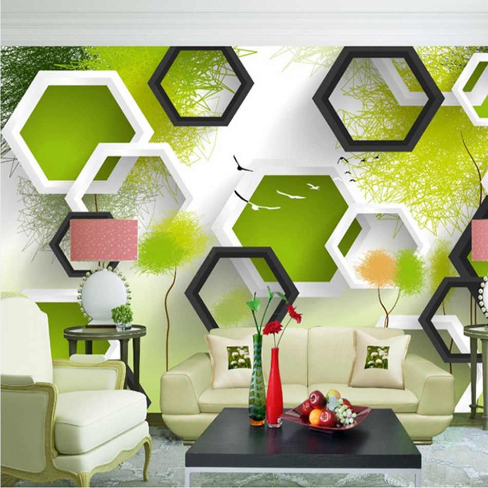Шестиугольная 3D Любой размер пользовательские обои кирпичная стена Baby-room росписи рулонов Ресторан отеля Гостиная Спальня бар КТВ Декор