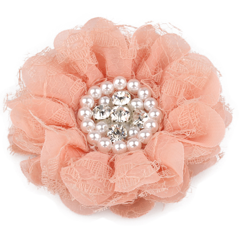 "5pc Chiffon flower 2.5/"" with rhinestone center YOU CHOOSE COLORS"