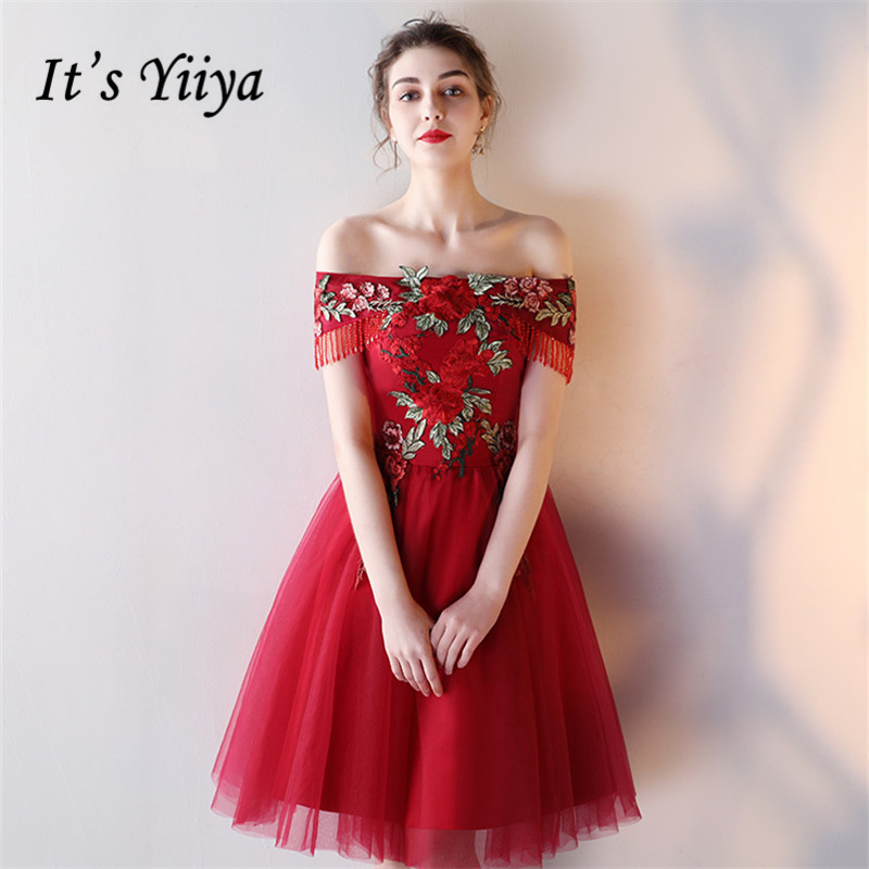 It's YiiYa Hot Sales Boat Neck Fashion Designer Special Flowers Embroidery Tassel Elegant   Cocktail   Gowns   Cocktail     Dress   LX325