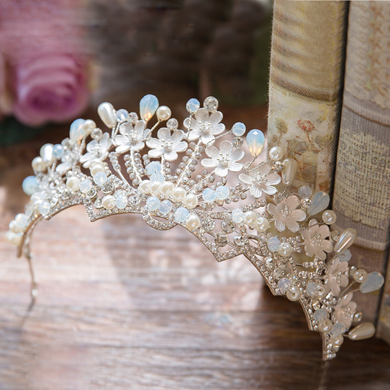 Bride Headband Light Blue Crystal Bridal Crown Luxury Veil Tiara Flower Hairband Women Headpiece Wedding Hair Accessories