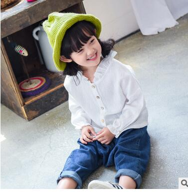 Children s wear fashion agaric edge cotton linen shirt2016new girls cotton texture single breasted pure color