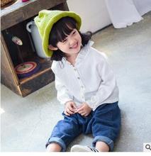 Children's wear fashion agaric edge cotton linen shirt2016new girls cotton texture single-breasted pure color shirt South Korea