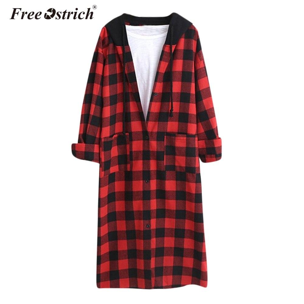 Free Ostrich Autumn Jacket Women Plaid Pockets Casacas Para Mujer Casaco Feminino Long Coat Chaquetas Mujer Primavera 2020 N30