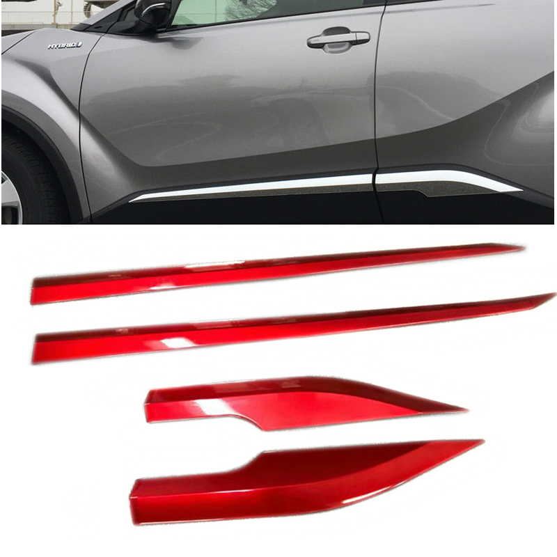 For Toyota CHR CH R 2016 2017 2018 Red Side Door Molding Body Strip Streamer Protection Lid Molding Cover Trim Car Accessories