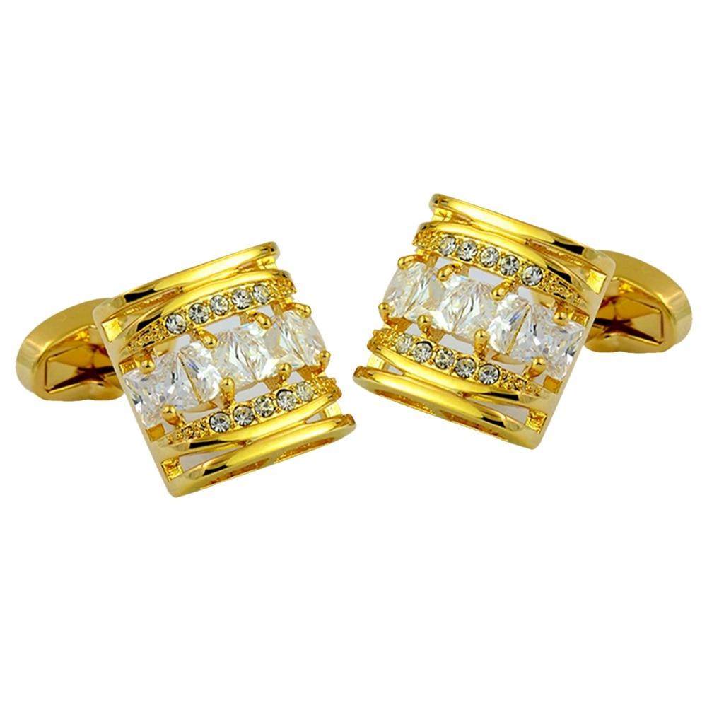 Europe gold rhinestone cufflink luxury whale back cufflink brass plated gold elegant cufflink multilayered gold plated textured rhinestone strand bracelet