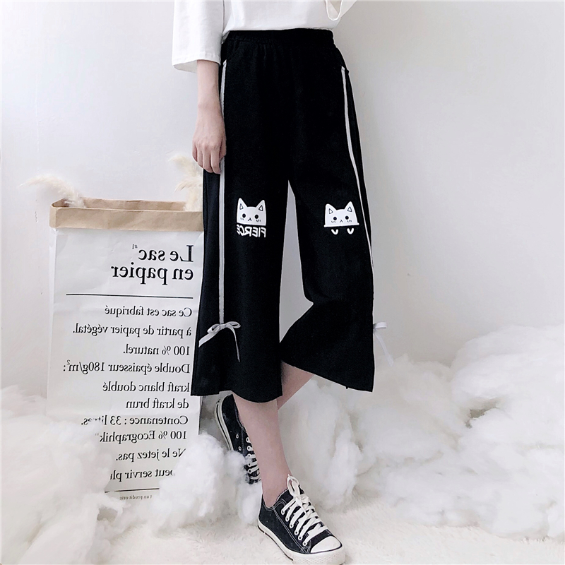 2018 Lolita Autumn New female Harajuku sweet print cat bow calf length high waist   pants   points women plus size   wide     leg     pants