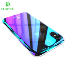 FLOVEME Gradient Phone Cases For iPhone XS Max XR Blue Ray Cover Ultra Slim Hard PC Shell For iPhone 6S 6 7 8 Plus 5S 5 SE Cases floveme mirror pc flip leather case for iphone 6s 6 7 8 plus 5s cover plating smart window cases for iphone x 10 5s 5 se shell