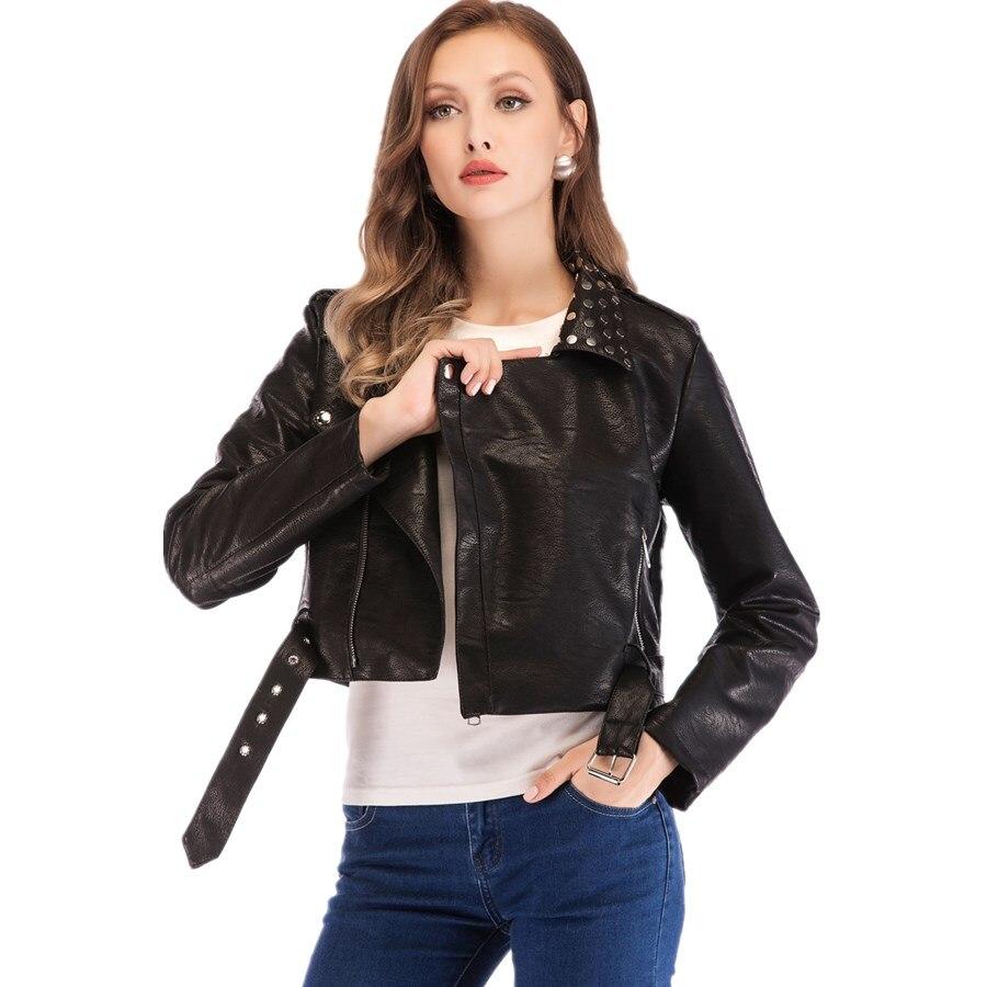 Fashion brand longer style motorcar style rivet pu   leather   jackets female elegant street style long sleeve   leather   jacket wq673