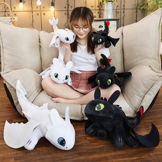 Dois estilos Como treinar O Seu Dragão 3 35 centímetros luz Brinquedos Anime Figura Fúria Fúria Da Noite Desdentado Dragão de Pelúcia boneca Brinquedos Para As Crianças