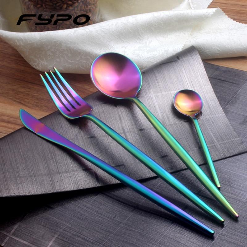 Fypo Brand <font><b>Dinnerware</b></font> <font><b>set</b></font> Gold Black Rainbow Stainless Steel Tableware Cutlery <font><b>Set</b></font> with Fork <font><b>Knife</b></font> For Home Kitchen Hotel