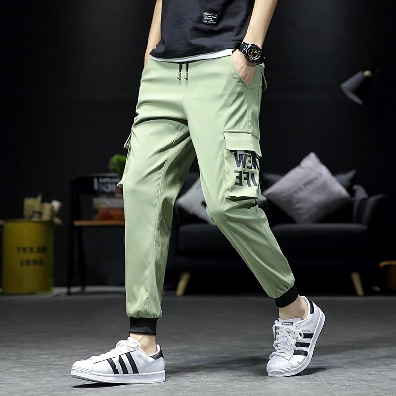 Men Multi Pockets Cargo Pants Pockets Printing Mens Pants Elastic Waist Casual Pants Men Pantalones Hombres in Cargo Pants from Men 39 s Clothing