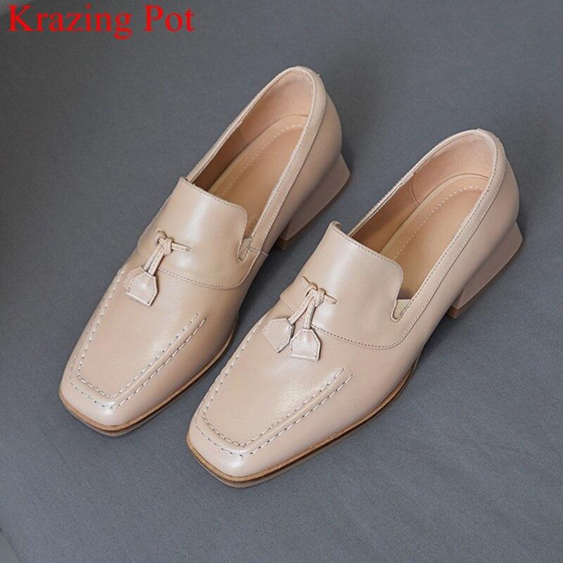 Krazing Pot 2019 superstar slip on genuine leather square toe women pumps med heel mature sweet