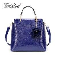 Teridiva Large Capacity Women Tote Bag with Flower Crocodile Handbag High Quality European Style Women's Shoulder Bag 2018 New