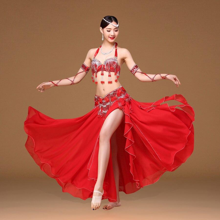 443c9585c 2018 Performance Belly Dance Costume Outfit Plus Size Cup C d 3pcs Bra Belt  Skirt Long Oriental ...