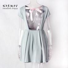 NORMOV Sexy Women O-Neck Backless Straps Slim Polyester Dress Mini Office Lady Large Size Robe Dresses Vestidos De Festa Women