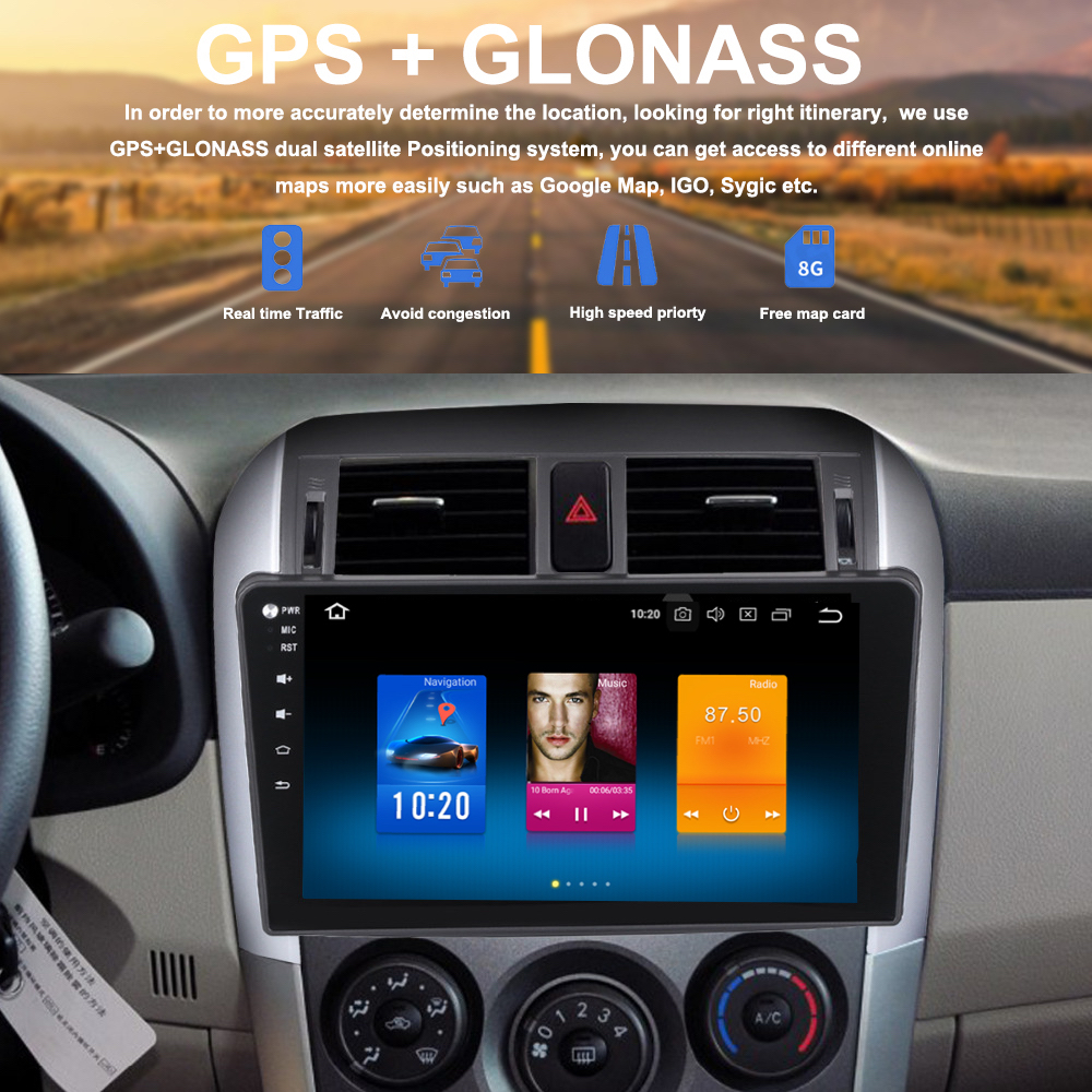 Car Multimedia Radio GPS for Toyota Corolla Navi 2008 2009 2010 2011 10 2 inch Android
