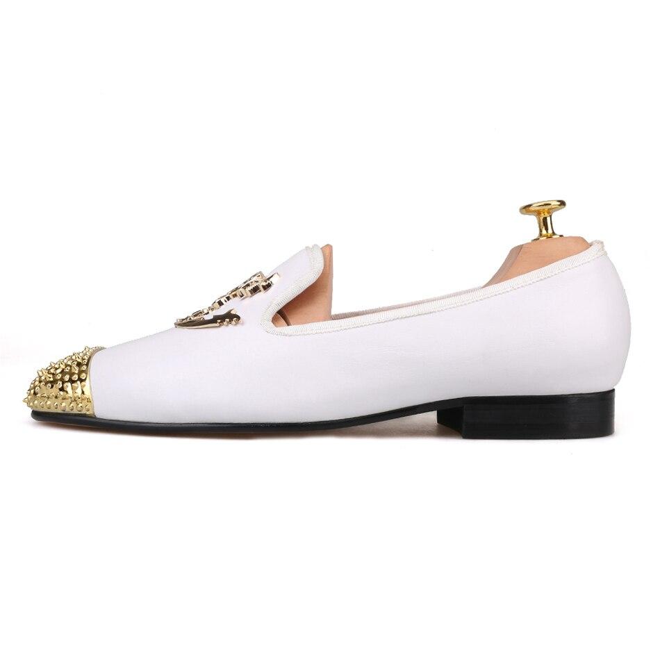 Avec En Or Chaussures Mocassins Métal Mariage Hommes Robe 2018 Et De Nouveau Piergitar Cuir Couleurs Blanc Bout Partie pwYHgUq8