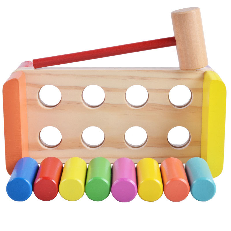 Wood Hammer Beat Piling Toy Knock Hamster Game Pounding Colorful Cylinder Table Game Kids Early Learning Educational Toys