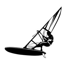 17.5cm*15.8cm Windsurfing Water Extreme Sports Car Styling Stickers Black/Silver S3-6200(China)