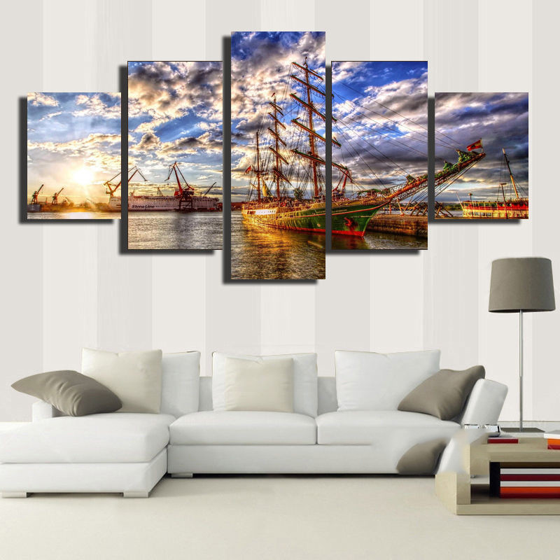 No Framed Direct Selling Limited Painting Sailboat Seacape