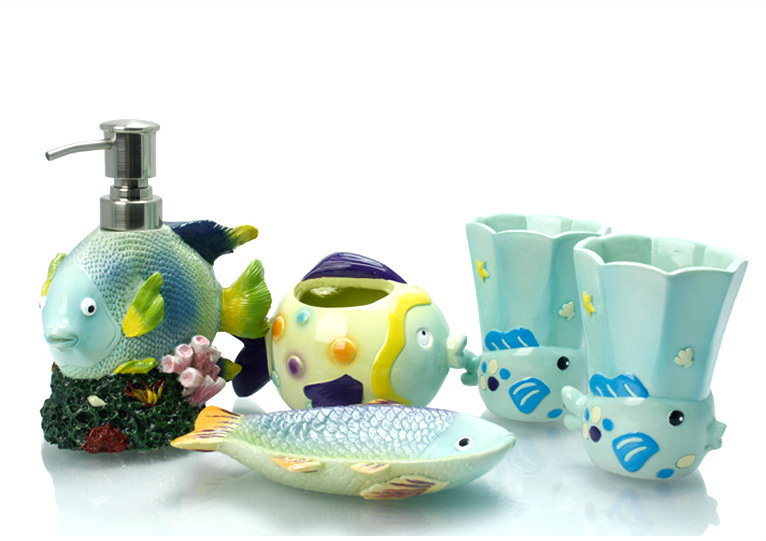 New mediterranean style underwater world sea fish bath for Sea bathroom set