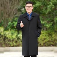 New Europe Style long Mens casual trench Spring autumn Jacket Long Men's Overcoat birthday gift father Coat Black Manteau Homme