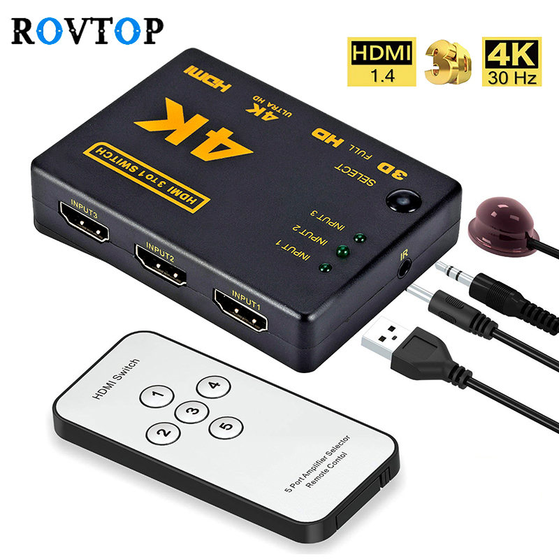 Rovtop Mini HDMI Switcher 4K HD1080P 3 5 Port HDMI Switch Selector Splitter With Hub IR Remote Controller For HDTV DVD TV BOX Z2(China)