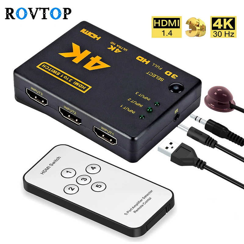 Rovtop Mini HDMI Switcher 4K HD1080P 3 5 Port HDMI Switch Selector Splitter dengan Hub IR Remote Controller untuk HDTV DVD TV Box Z2