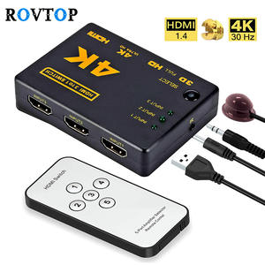 Rovtop Switcher Splitter Tv-Box Selector Remote-Controller Mini Hdmi 4K with Hub IR