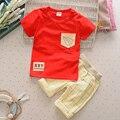 Venda quente de Verão 2017 Roupas de Algodão Infantil Define Meninos Ternos Casuais T Shirt + Calções Grade 2 Peças Crianças crianças Ternos